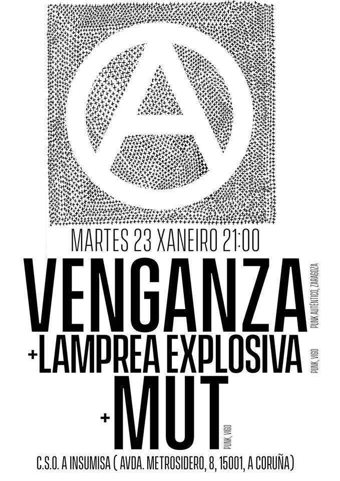 Cartel del concierto de Vengnza + Lamprea Explosiva + MUT @ CSO A Insumisa, A Coruña, 23/01/2018