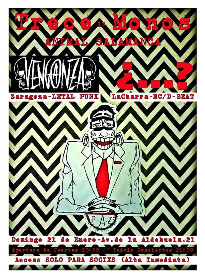 Concierto de Venganza y La Charra @ Trece Monos, Salamanca, 21/01/2017