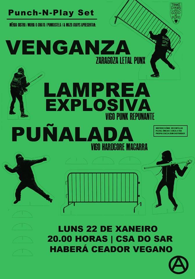Concierto de Venganza / Lamprea Explosiva / Puñalada no Csa do Sar @ CSA do Sar, Santiago de Compostela, 22/01/2018