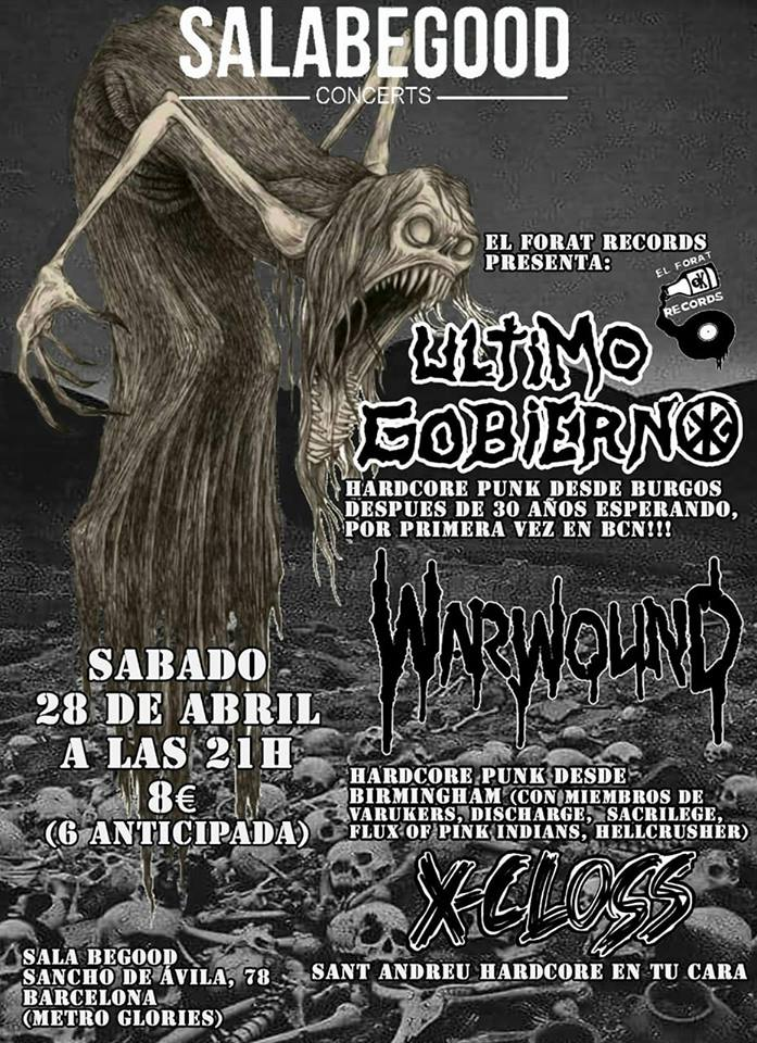 Cartel del concierto de Warbound + Último Gobierno + X-Closs @ Sala BeGood, Barcelona, sábado 28 de abril de 2018