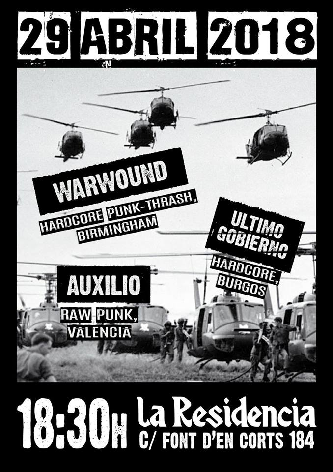 Cartel del concierto de Warbound + Último Gobierno + Auxilio @ La Residencia, Valencia, domingo 29 de abril de 2018