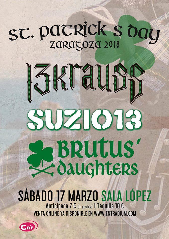Concierto de 13 Krauss + Suzio 13 + Brutus' Daughters @ Sala López, Zaragoza, el sábado, 17 de marzo de 2018