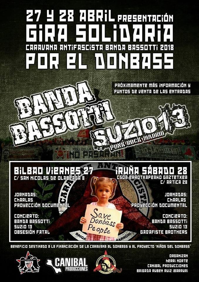 Banda Bassotti + Suizo 13 en Caravana Solidaria por el Donbass con conciertos en Bilbao y PamplonaBanda Bassotti + Suizo 13 en Caravana Solidaria por el Donbass con conciertos en Bilbao y Pamplona