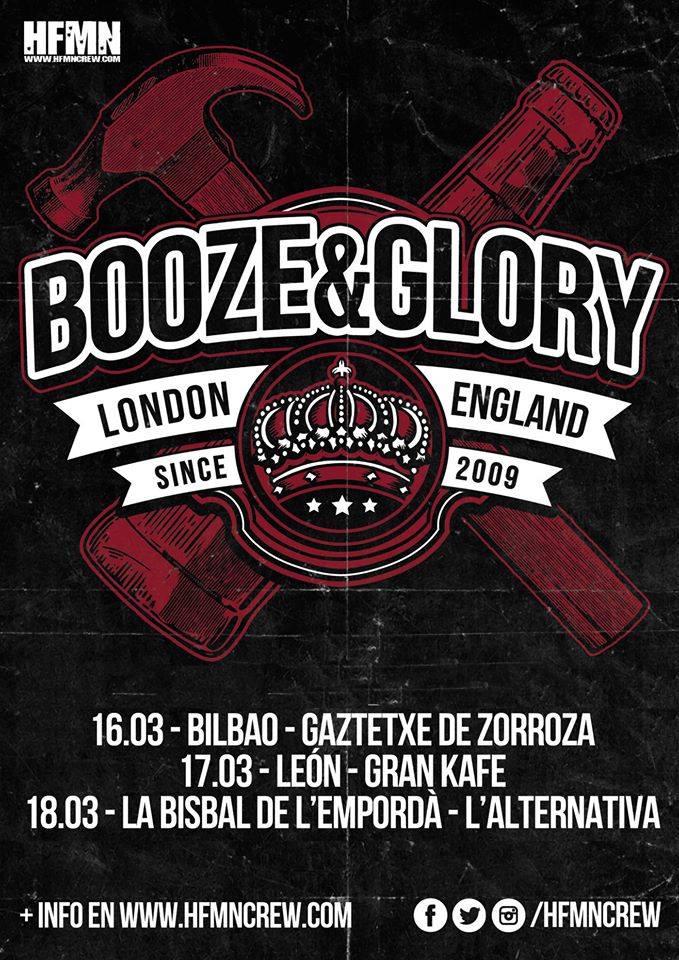 Cartel de la gira de Booze & Glory con conciertos en Bilbao, León y La Bisbal de L'Empordà en marzo de 2018