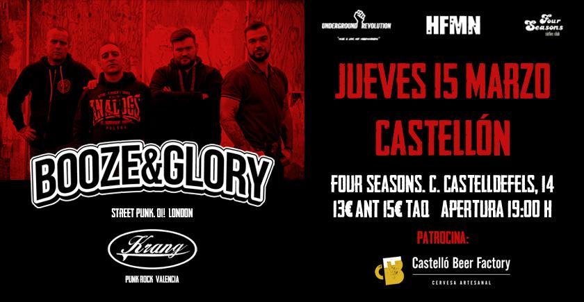 Cartel del concierto de Booze & Glory @ Four Seasons, Castellón, jueves, 15 de marzo de 2018