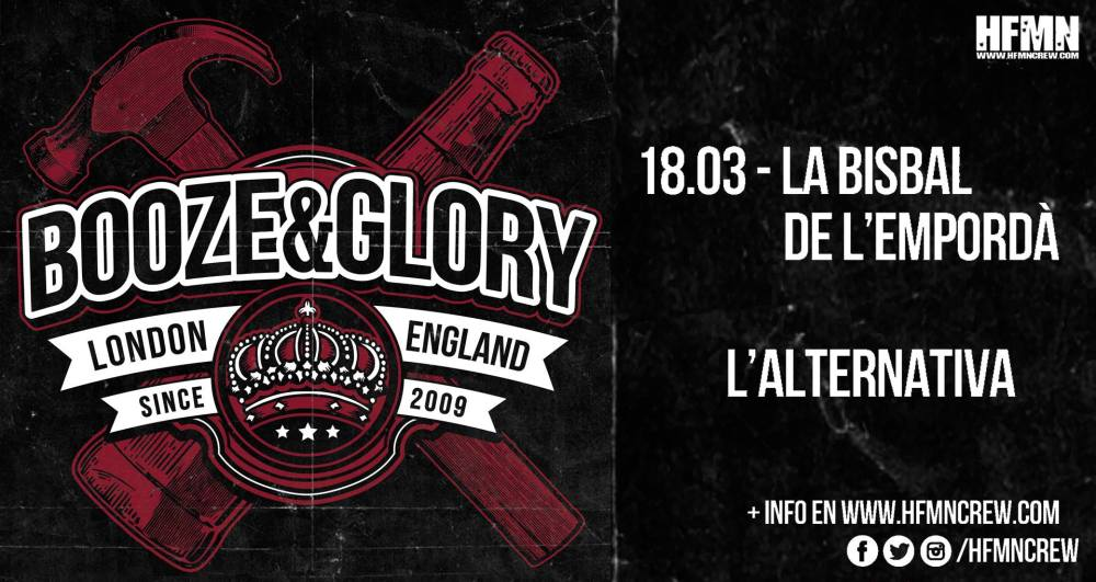 Cartel del concierto de Booze & Glory en L'Alternativa, La Bisbal de L'Ampordà, el domingo 18 de marzo de 2018