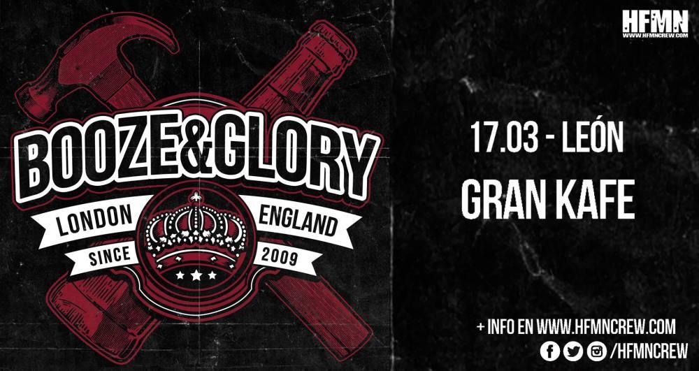 Cartel del concierto de Booze & Glory en El Gran Café de León el sábado 17 de marzo de 2018