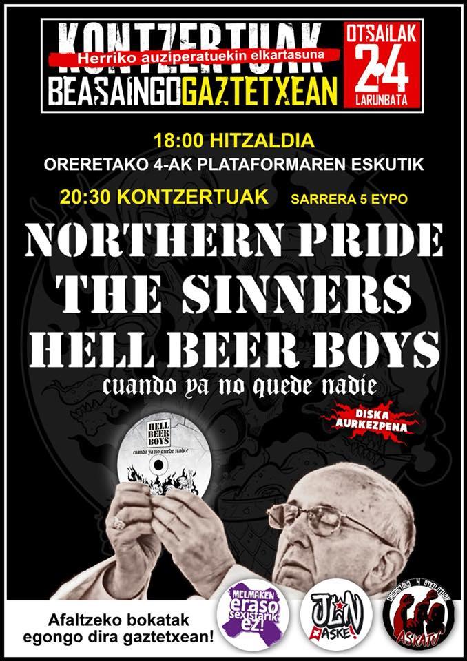 Cartel del concierto de Hell Beer Boys, The Sinners y Northern Pride @ Beasáin, 24/02/2018
