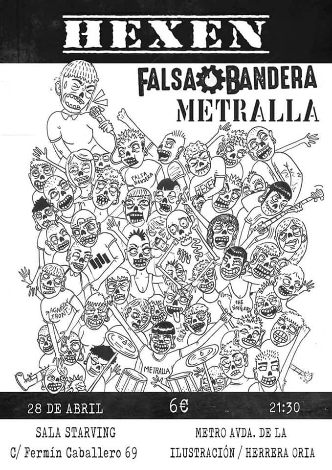 Cartel del concierto de Hexen, Falsa Bandera y Metralla @ Sala Starving, Madrid, el sábado 28 de abril de 2018