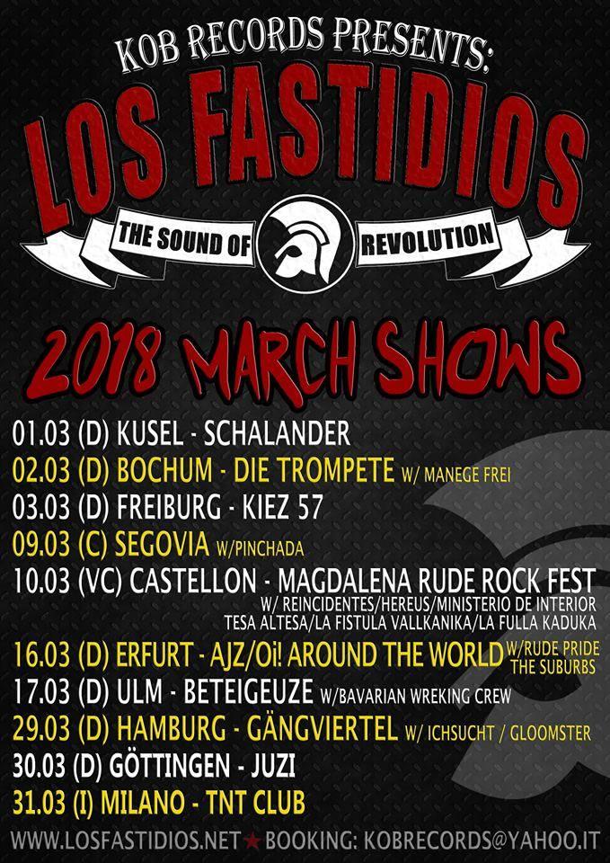 Cartel con los conciertos del mes de marzo de Los Fastidios, que incluyen actuaciones en Segovia (El Búnker) y Castellón (Magdalena Rude Rock Fest)