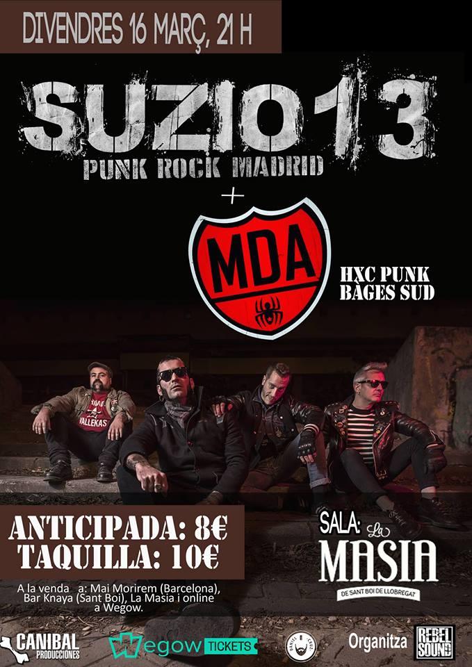 Cartel del concierto de Suzio 13 + Mousse de Araña (MDA) @ Sala La Masía, Sant Boi de Llobregat, Barcelona, el viernes 16 de marzo de 2018