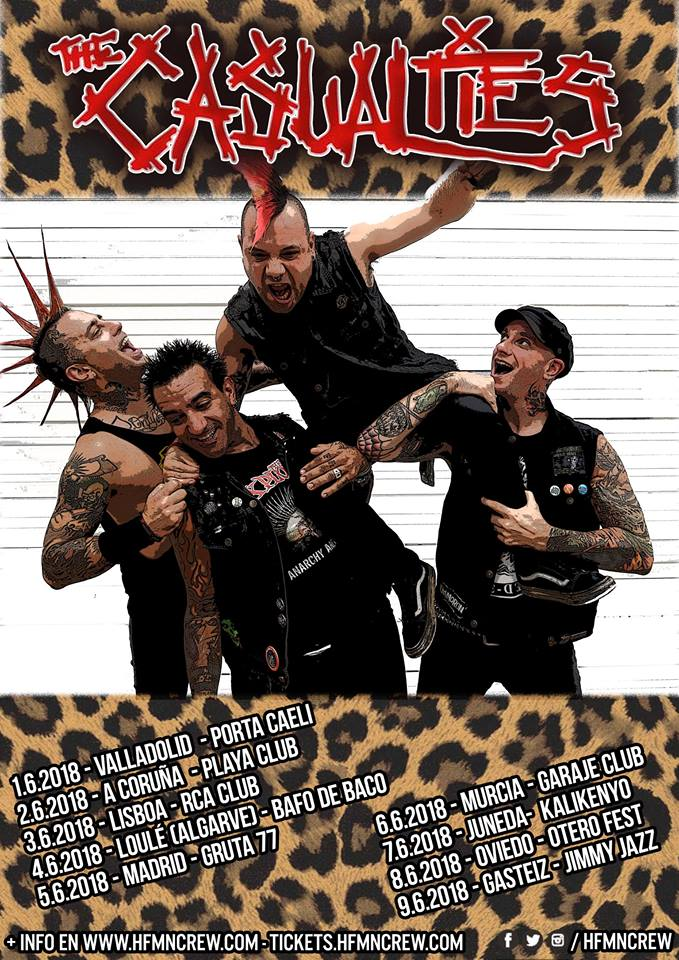 Cartel de la gira de The Casualties con conciertos en Valladolid, A Coruña, Lisboa, Madrid, Kalikenyo Rock, Oviedo y Vitoria-Gasteiz