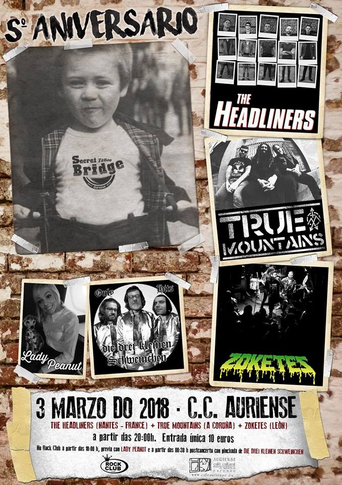 Cartel del concierto de The Headliners + True Mountains + Zoketes @ CC Auriense, Ourense, el sábado 3 de marzo de 2018