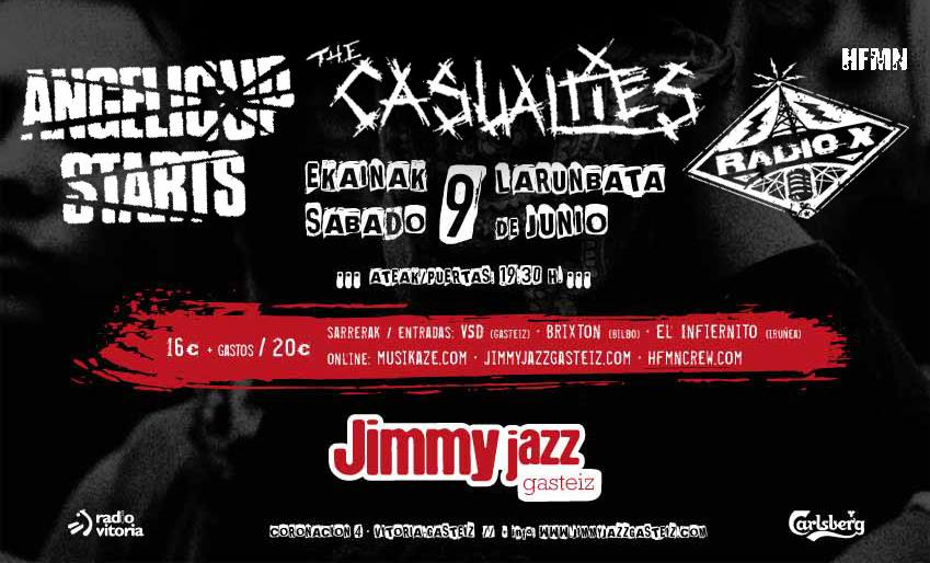Cartel del concierto de Angelic Upstarts + The Casualties + Radio X @ Sala Jimmy Jazz, Vitoria-Gasteiz, el sábado, 8 de junio de 2018