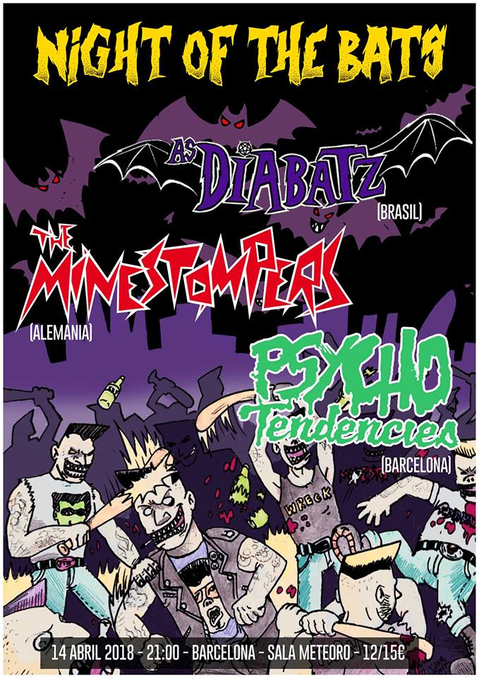 Cartel del concierto de As Diabatz + The Minestompers + Psycho Tendencies @ Meteoro, Barcelona, el sábado 14 de abril de 2018