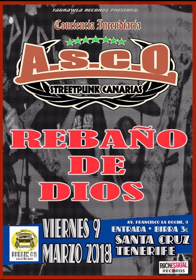 Cartel del concierto de ASCO en @ Berlín 89, de Santa Cruz de Tenerfie, el viernes 9 de mazo de 2018