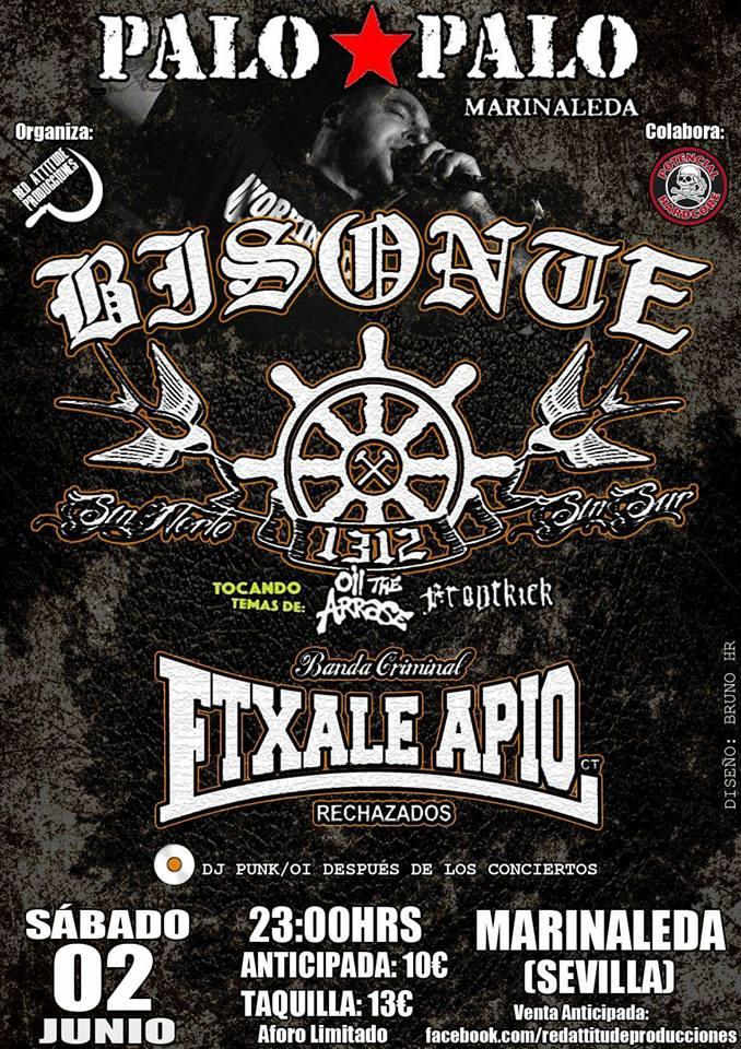 Cartel del concierto de Bisonte 1312 + Extale Apio @ Sala Palo Palo, Marinaleda, Sevilla, el sábado 02/0672018