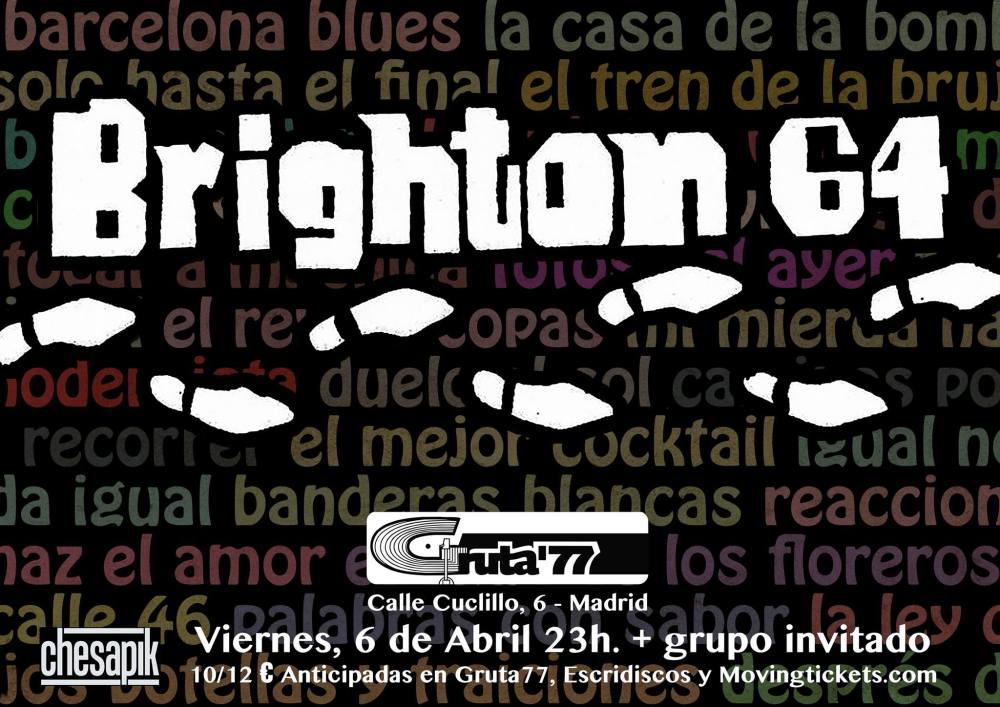 Cartel del concierto de Brighton 64 en Gruta 77, Madrid, el viernes, 6 de abril de 2018