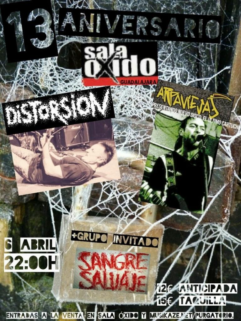 Cartel del concierto Distorsión + Arpaviejas + Sangre Salvaje @ Sala Óxido, Guadalajara, Viernes 6 de abril de 2018