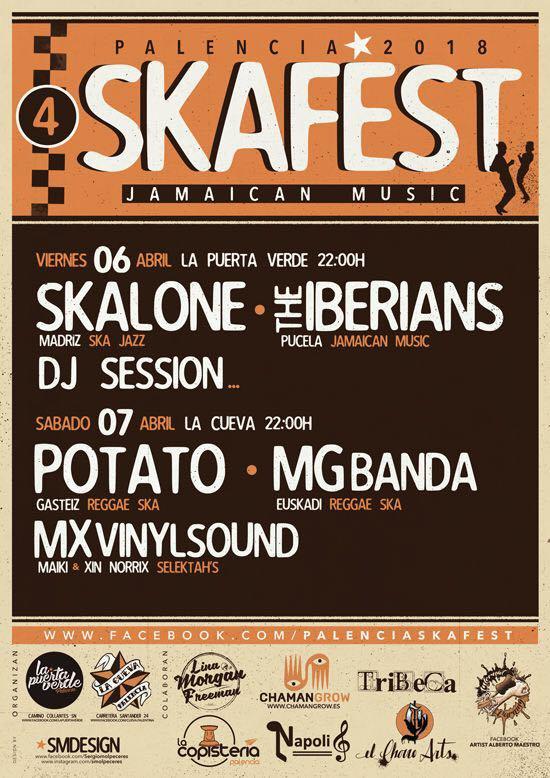 Cartel del Palencia Ska Fest 2018 con Skalone, The Iberians, Potato y MG Banda