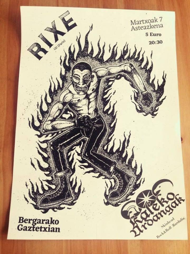 Cartel del concierto de Rixe + Kaleko Urdangak @ Bergarako Gaztetxea, 07/03/2018