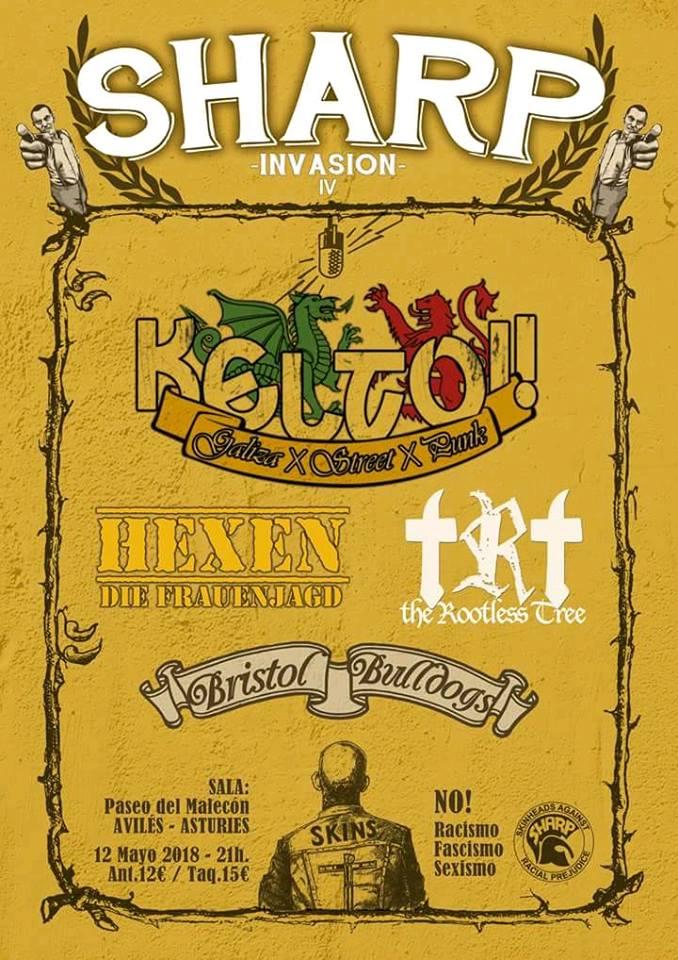 Cartel del SHARP Invasion 2018 @ Avilés, sábado 12 de mayo de 2018 con Keltoi!, Hexen, Bristol Bulldogs y The Rootless Tree