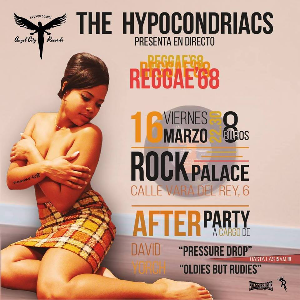 Cartel del concierto de The Hypocondriacs @ Sala Rock Palace, Madrid, viernes 16 demarzo de 2018