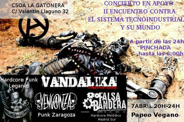 Cartel del concierto de Venganza, Regimen de Guerra, Falsa Bandera y Vandalika @ La Gatonera, Madrid, el sábado 7 de abril de 2018
