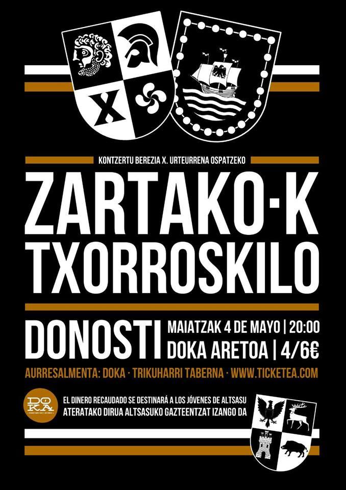 Cartel del concierto de Zartako-K @ DOKA, Donostia, el 4 de mayo de 2018