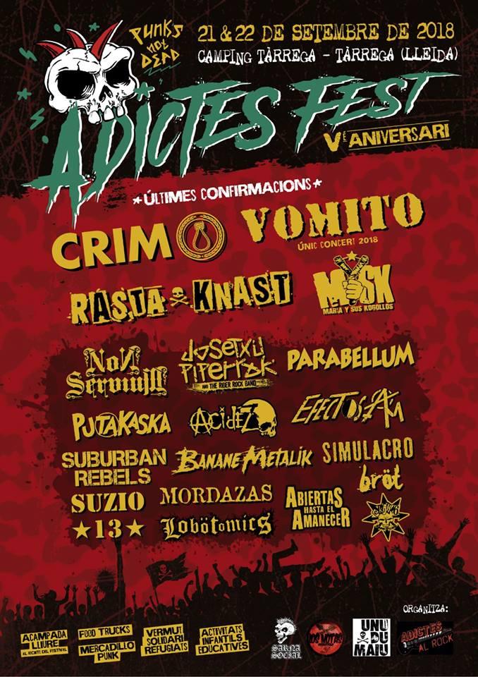Cartel completo del Adictes Fest 2018 de Tárraga (Lleida)