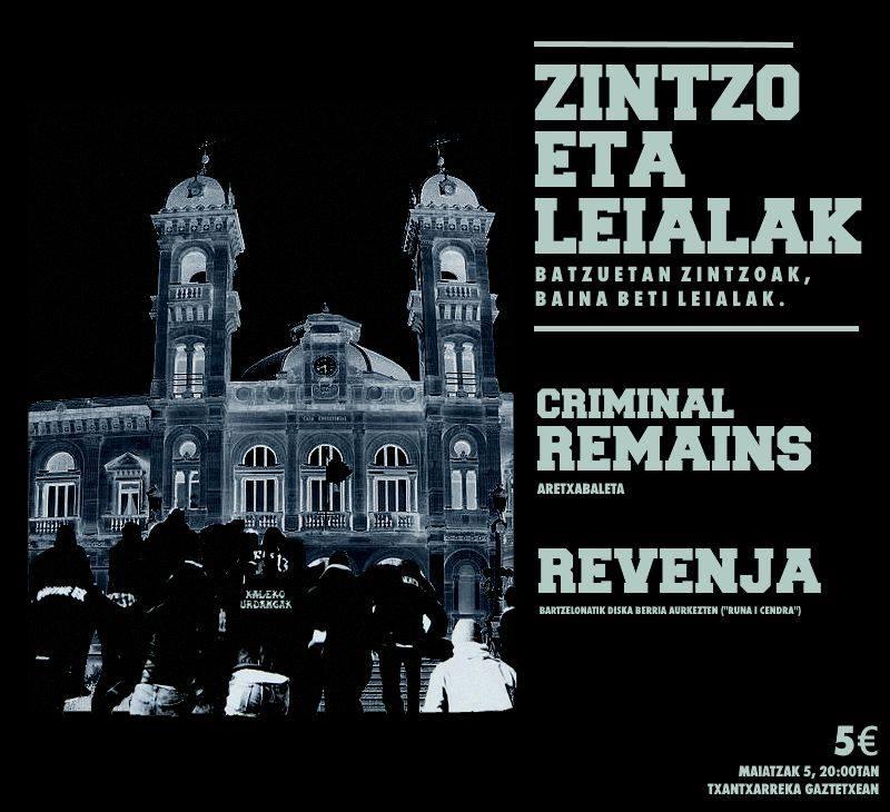 Cartel del concierto de Criminal Remains + Revenja @ Txantxarreka Gaztetxea, Donostia, el 05/0572018