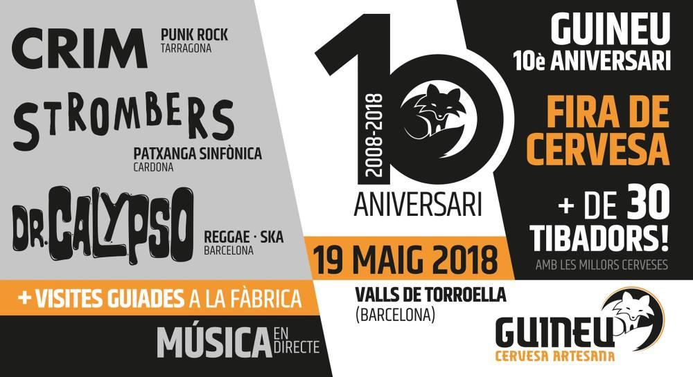 Cartel del concierto de Dr. Calypso, Strombers y CRIM @ Cervesa Guineu, Valls de Torroella (Barcelona), el sábado 19 de mayo de 2018