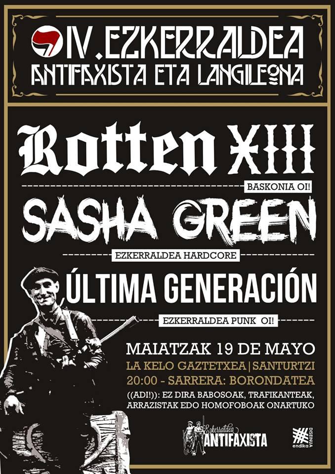 Cartel del IV. Ezkerraldea Antifaxista eta Langileona @ La Kelo Gaztetxea, Santurtzi, el sábado 19 de mayo de 2018