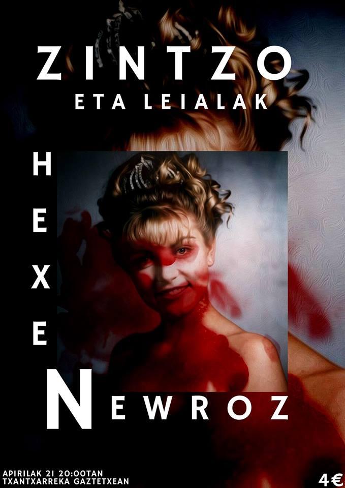 Cartel del concierto de Hexen + Newroz @ Txantxarreka Gaztetxea, Donostia, el sábado, 21 de abril de 2018
