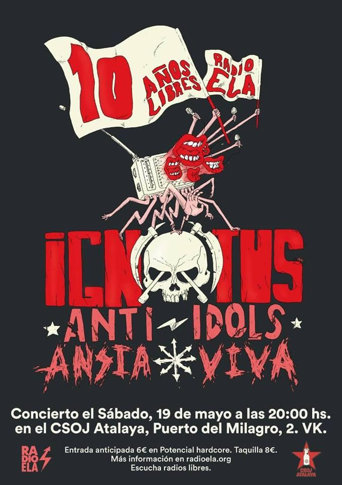 Cartel del concierto de Ignotus, Anti-Idols y Ansia Viva @ CSOJ Atalaya, Vallekas (Madrid), el sábado 19 de mayo de 2018