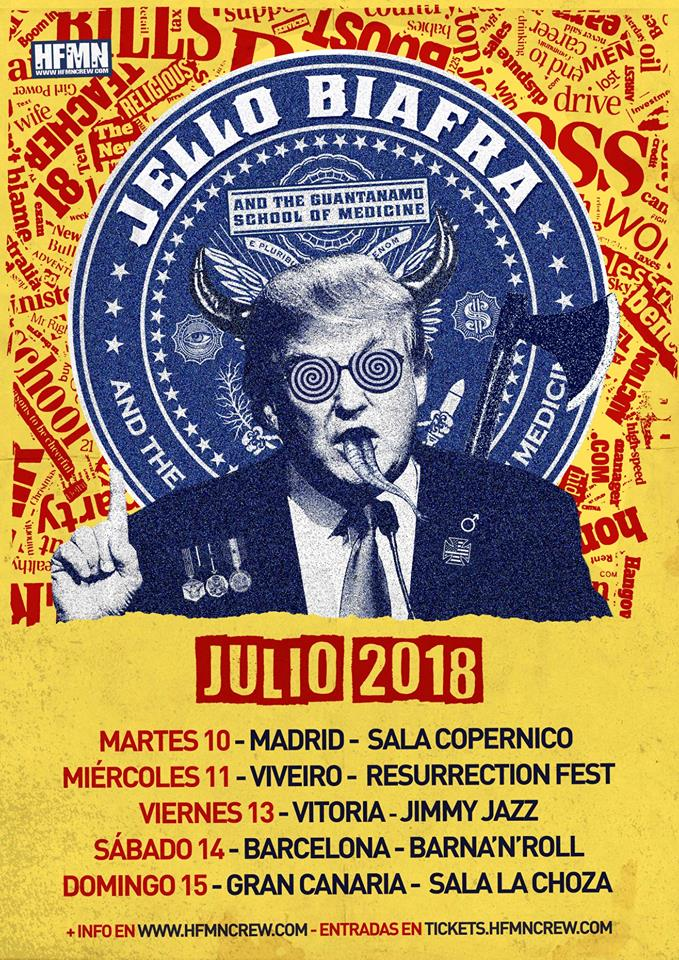 Cartel de la gira de Jello Biafra & The Guantanamo School of Medice, en Madrid, Vitoria, Resurrection Fest, Barna'n'Roll y Gran Canaria