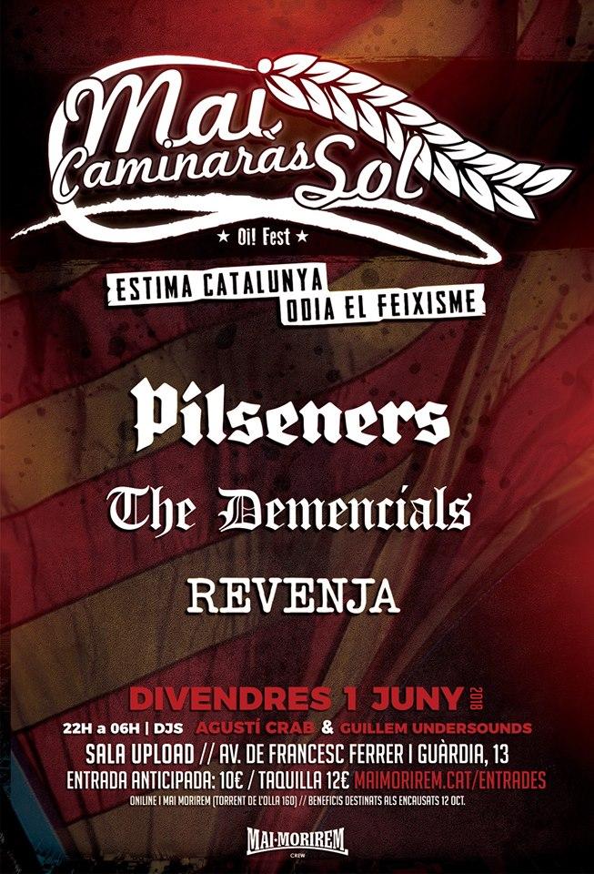 Cartel del concierto de Pilseners, The Demencials, Revenja @ Sala Upload, Barcelona, el viernes 1 de junio de 2018