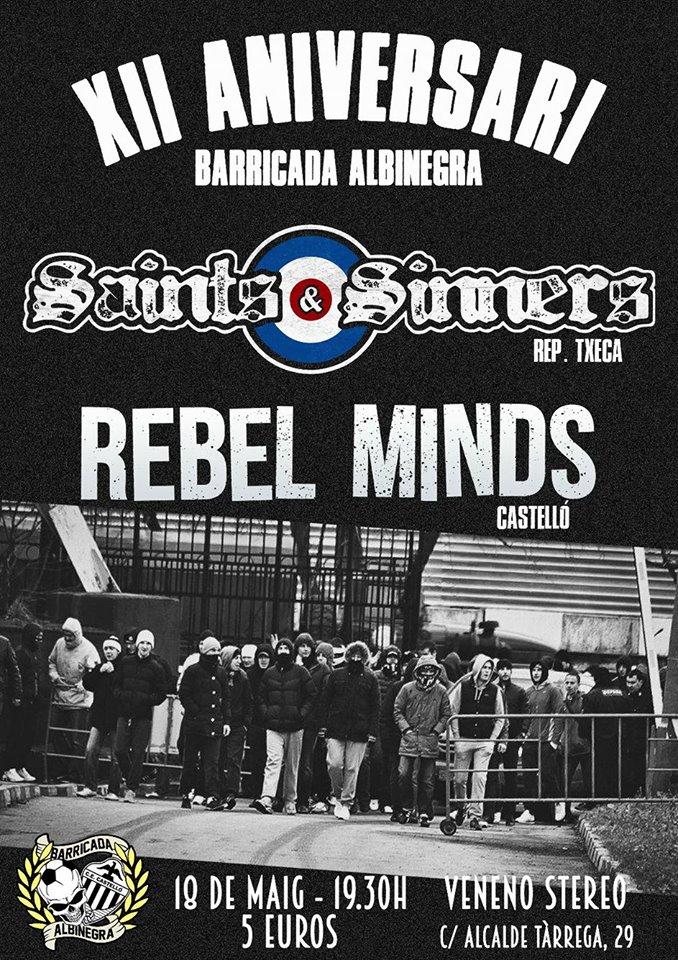 Cartel del concierto de Saints & Sinners y Rebel Minds @ Veneno Stereo, Castellón, viernes 18 de mayo de 2018