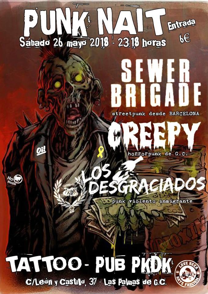 Cartel del concierto de Sewer Brigade, Creepy y Los Desgraciaos @ PKDK Pub & Tattoo, Las Palmas de Gran Canaria, el sábado 26 de mayo de 2018