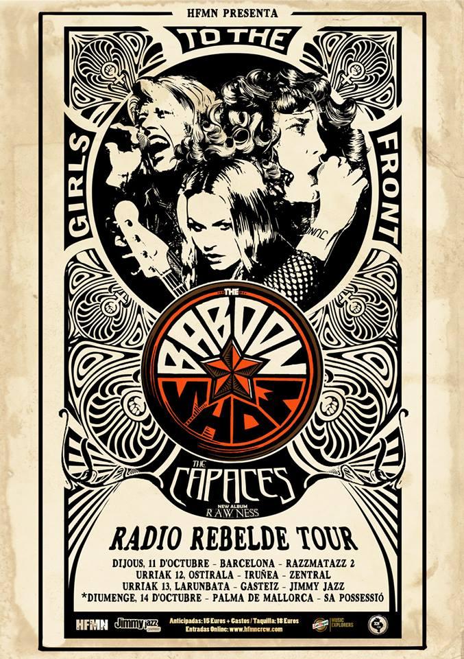 Cartel de la gira de The Baboon Show junto a The Capaces @ Barcelona, Iruña, Gasteiz y Palma de Mallorca