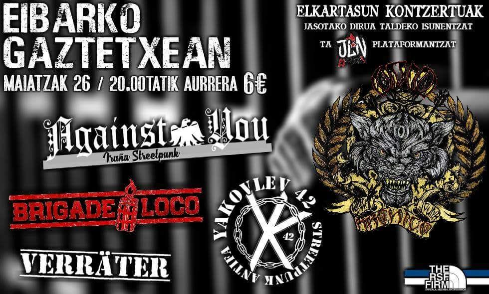 Cartel del concierto de Against You, Brigade Loco, Yakovlev 42 y Verräter @ Eibarko Gaztetxean el sábado 26 de mayo de 2018
