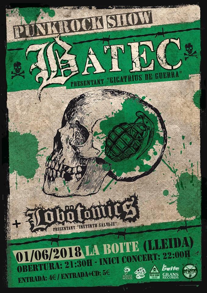 Cartel del concierto de Batec + Lobötomics @ La Boite, Lleida, viernes 1 de junio de 2018