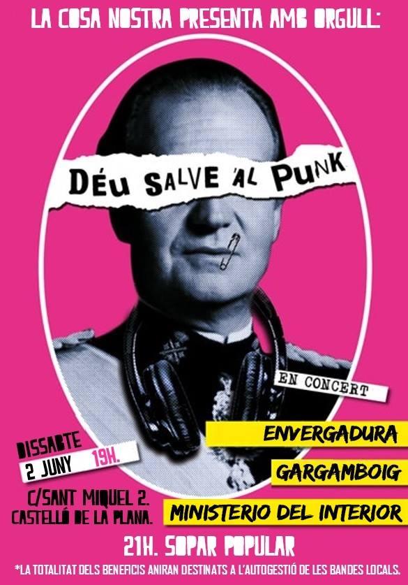 Concert Déu Salve Al Punk con Envergadura, Ministerio de Interior y Gargamboig @ La Cosa Nostra Antifa Club, Castellón, el sábado 2 de junio de 2018