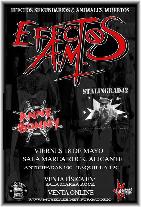 Cartel del concierto de Efectos AM, Stalingrad 42 y Anne Bunny @ Sala MareaRock, Alicane, el viernes 18 de mayo de 2018