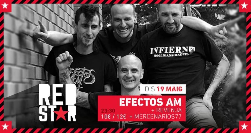 Cartel del concierto de Efectos AM, Revenja y Mercenarios 77 @ Sala RedStar, Valls (Tarragona), el sábado 19 de mayo de 2018