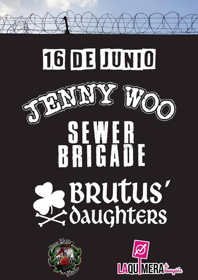 Cartel del concierto de Jenny Woo, Sewer Brigade y Brutus' Daughters @ La Quimera Lavapiés, Madrid, el sábado 16 de junio de 2018