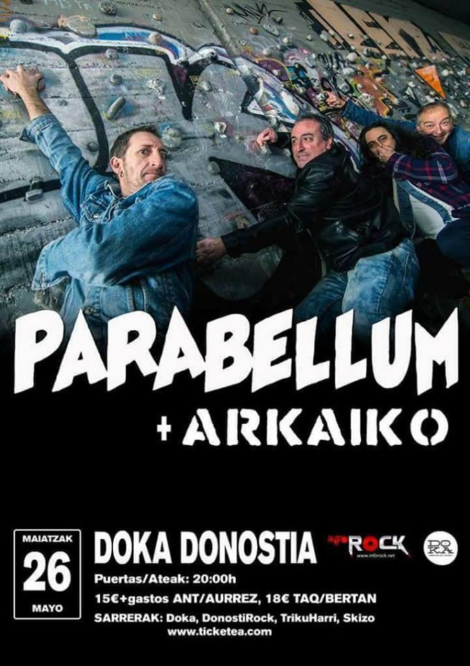 Cartel del concierto de Parabellum y Arkaiko @ Doka Donostia, San Sebastián, el sábado 26 de mayo de 2019