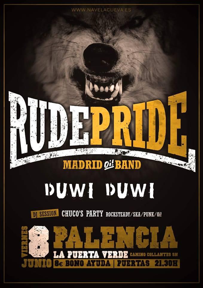 Cartel del concierto de Rude Pride+ Duwi Duwi @ La Puerta Verde, Palencia, el sábado 7 de junio de 2018