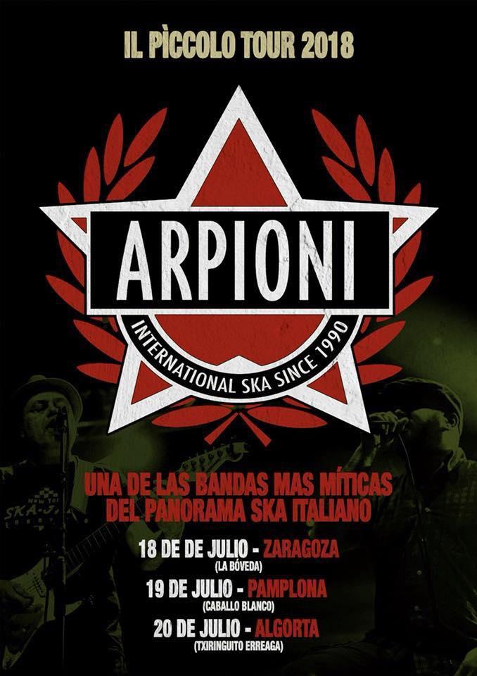 Cartel de la mini-gira de Arpioni con conciertos en Zaragoza, Iruña y Algorta en julio de 2018