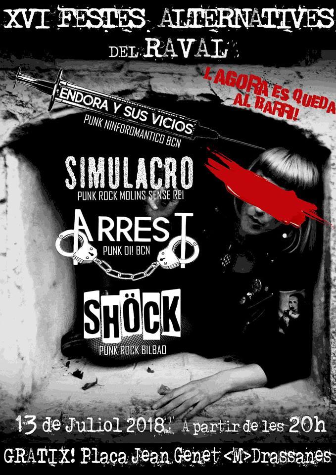 Concert Punk XVI Festes Alternatives del Raval con Shöck, Simulacro, Arrest y Endora y sus Vicios